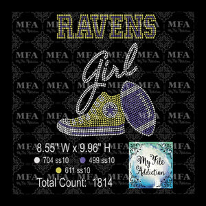 Ravens High Top With Football Rhinestone Digital Download File - My File Addiction
