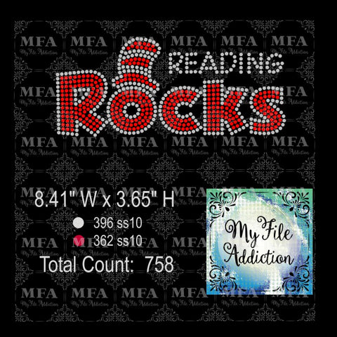 Reading Rocks Rhinestone Digital Download File - My File Addiction