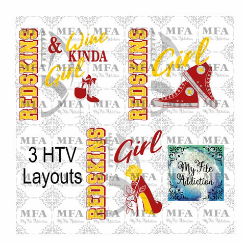 Redskins Football High Tops Rose Wine High Heel Shoe Vector Digital Download File - My File Addiction
