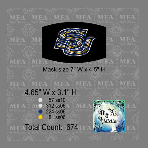 SU Small Southern University Rhinestone Digital Download File