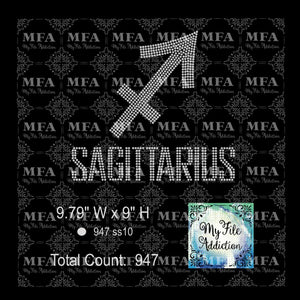 Sagittarius 2 Zodiac Sign Rhinestone Digital Download File - My File Addiction