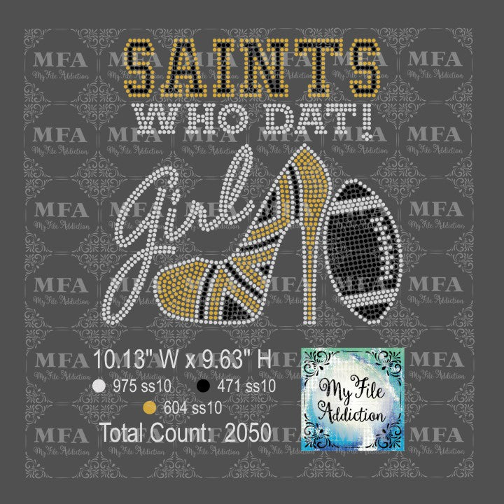 Saints Who Dat High Heel Shoe With Football Rhinestone Digital Download File - My File Addiction