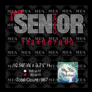Senior with Year 2 Includes Numbers 0-9 Rhinestone Digital Download File