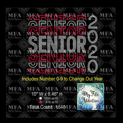 Senior with Numbers Stacked Rhinestone Digital Download File - My File Addiction