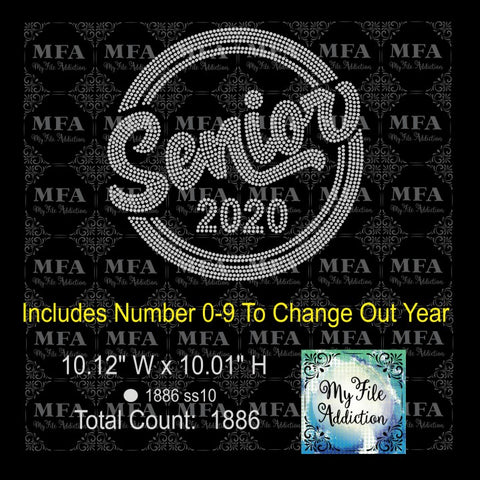 Senior with Year Includes Numbers 0-9 Rhinestone Digital Download File