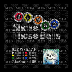 Shake Those Balls Bingo Rhinestone Digital Download File