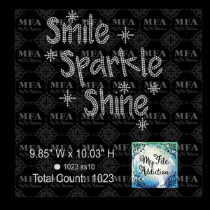 Smile Sparkle Shine Rhinestone Digital Download File