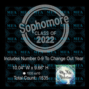 Sophomore Class of with Numbers Rhinestone Digital Download File - My File Addiction