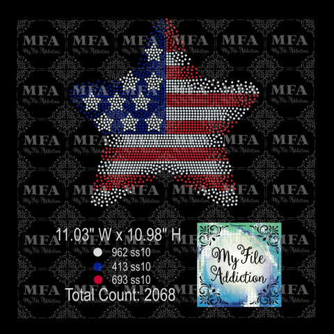 Star Flag Scatter Rhinestone Digital Download File