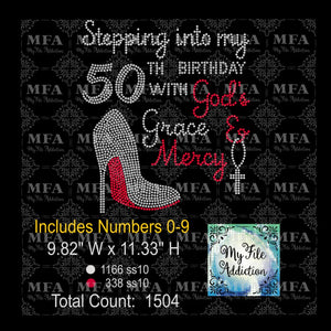 Stepping Into My Birthday with God's Grace and Mercy Rhinestone Digital Download File