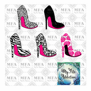 High Heel Stiletto Shoe Collection Vector Digital Download File - My File Addiction
