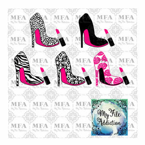 High Heel Stiletto Shoe with Lipstick Collection Vector Digital Download File - My File Addiction