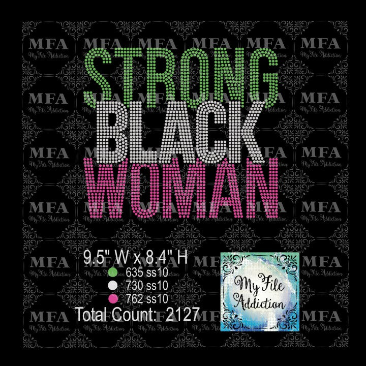Strong Black Woman Rhinestone Digital Download File - My File Addiction