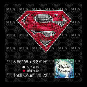 Superman S 2 Color Rhinestone Digital Download File - My File Addiction