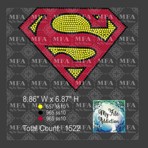 Superman S 3 Color Rhinestone Digital Download File - My File Addiction