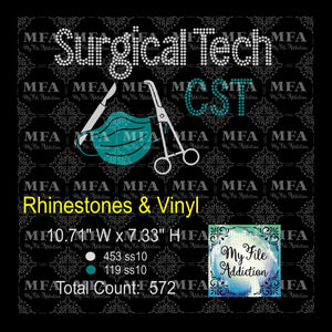 Surgical Tech CST Rhinestone & Vector Digital Download File - My File Addiction