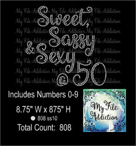 Sweet Sassy Sexy & 30 40 50 60 70 Rhinestone Digital Download File - My File Addiction