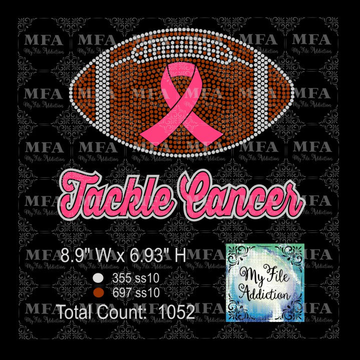 Tackle Cancer Football Rhinestone & Vector Digital Download File - My File Addiction