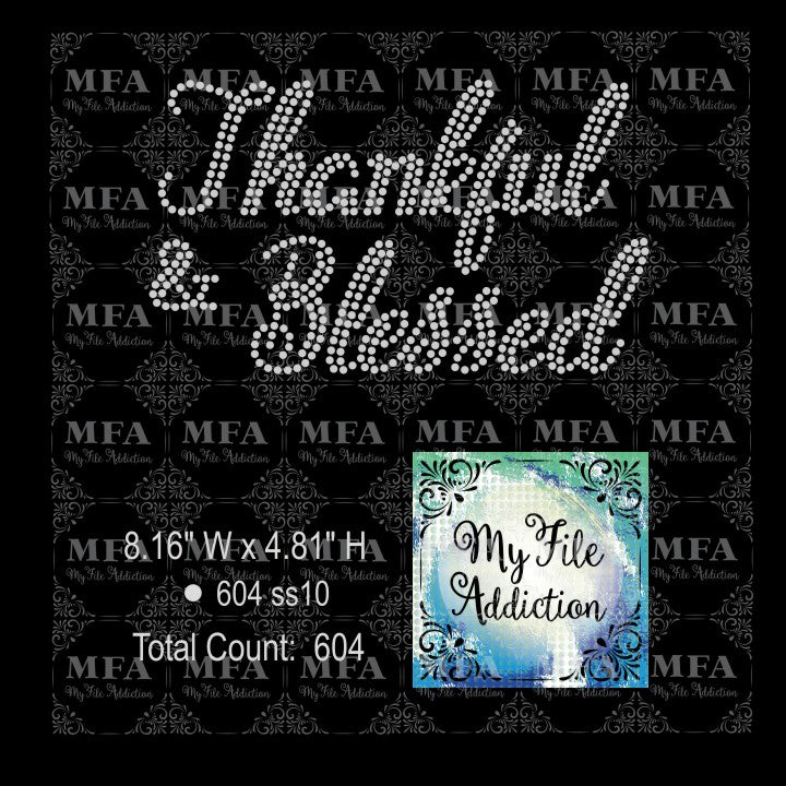 Thankful and Blessed Rhinestone Digital Download File - My File Addiction