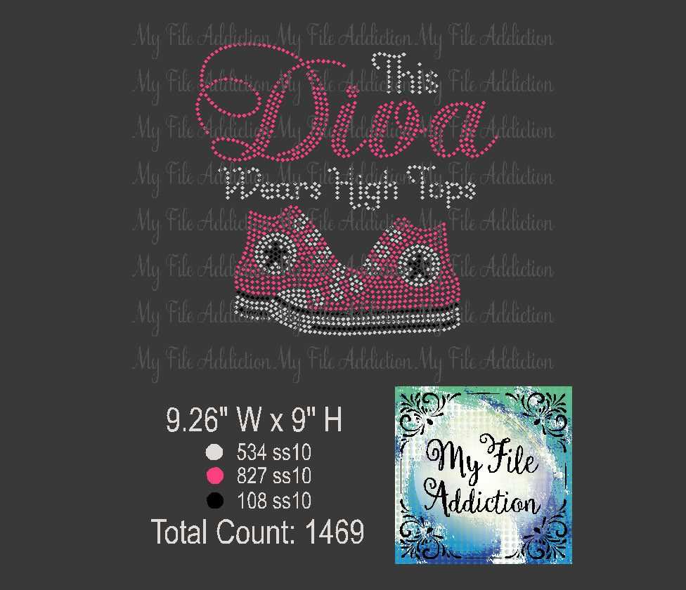 This Diva Wears High Tops Rhinestone Digital Download File - My File Addiction