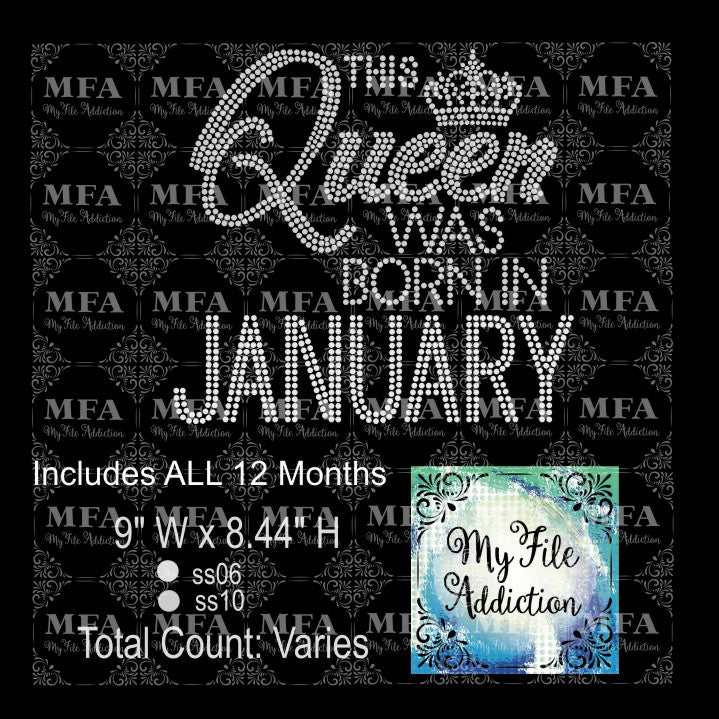 This Queen Was Born In with Months Rhinestone Digital Download File - My File Addiction