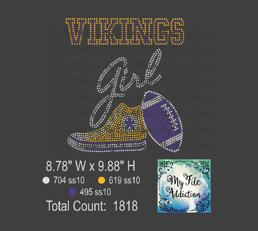 Vikings High Top With Football Rhinestone Digital Download File - My File Addiction