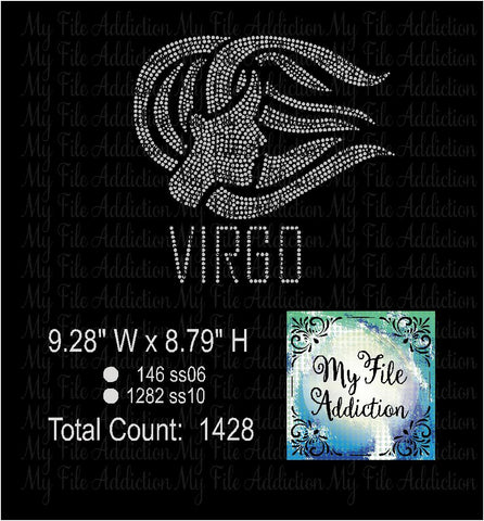 Virgo Zodiac Rhinestone Digital Download File - My File Addiction
