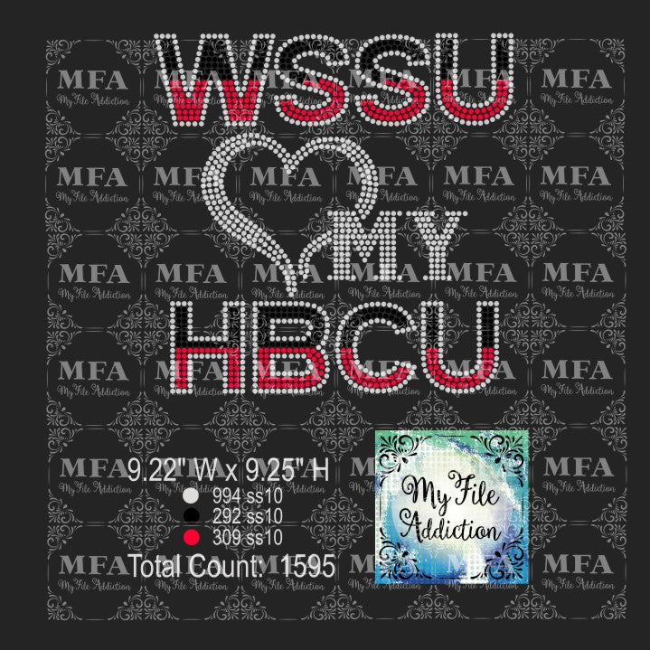 WSSU Love My HBCU Rhinestone Digital Download File - My File Addiction