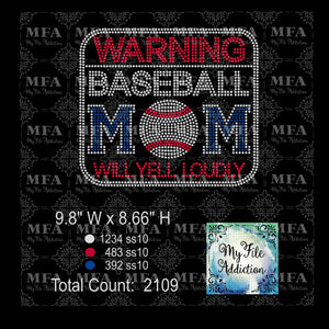 Warning Baseball Mom Rhinestone Digital Download File - My File Addiction