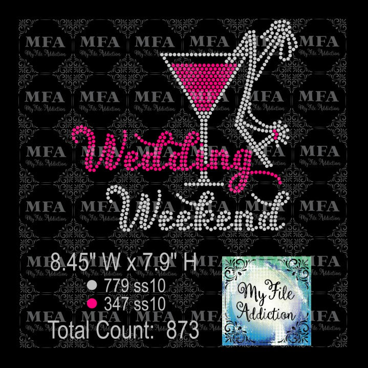 Wedding Weekend Martini Glass Rhinestone Digital Download File - My File Addiction