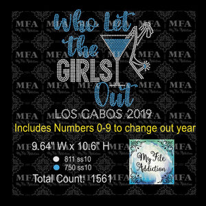 Who Let the Girls Out Los Cabos Martini Glass Shoe Rhinestone Digital Download File - My File Addiction