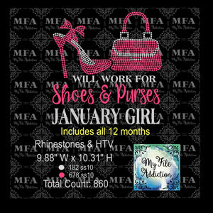 Will Work for Shoes & Purses Birthday Girl Rhinestone & Vector Digital Download File - My File Addiction