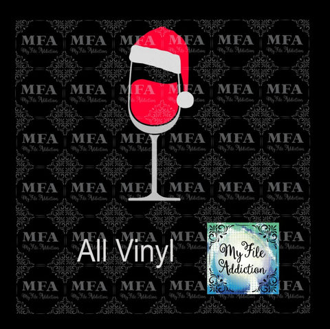 Wine Glass with Santa Hat Vector Digital Download File - My File Addiction