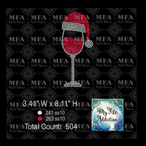Wine Glass Santa Hat Rhinestone Digital Download File - My File Addiction