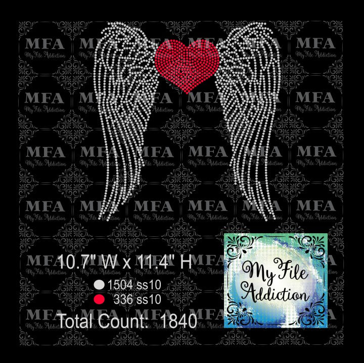 Wings with Heart Rhinestone Digital Download File - My File Addiction