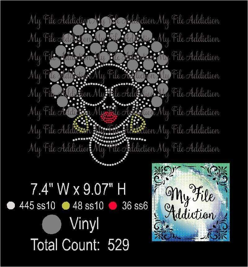 Afro Lady 1 Rhinestone & Vector Digital Download File - My File Addiction