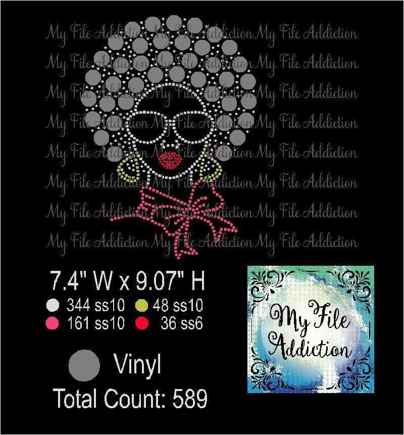 Afro Lady 2 Rhinestone & Vector Digital Download File - My File Addiction