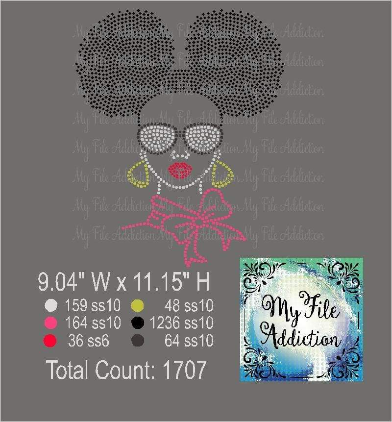 Afro Lady Puff 2 Rhinestone Digital Download File - My File Addiction