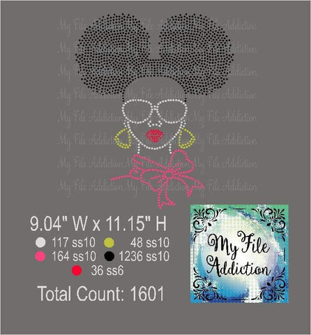 Afro Lady Puff 1 Rhinestone Digital Download File - My File Addiction