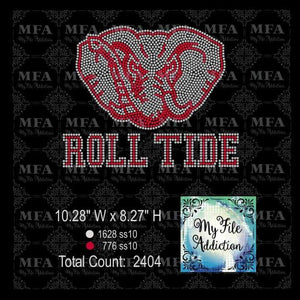 Alabama Roll Tide Elephant Rhinestone Digital Download File - My File Addiction