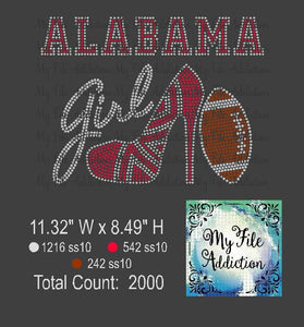Alabama Shoe With Football Rhinestone Digital Download File - My File Addiction