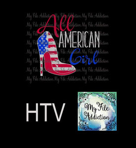 All American Girl High Heel Shoe Vector Digital Download File - My File Addiction