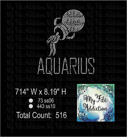 Aquarius Zodiac Rhinestone Digital Download File - My File Addiction