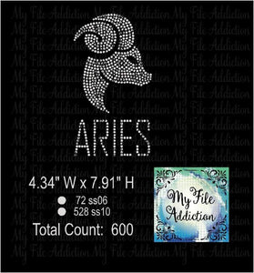 Aries Zodiac Rhinestone Digital Download File - My File Addiction