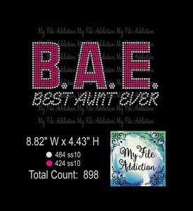 B. A. E. Best Aunt Ever Two Color Rhinestone Digital Download File - My File Addiction