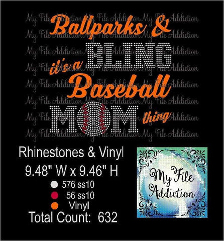 Ballparks and Bling Baseball Rhinestone & Vector Digital Download File - My File Addiction