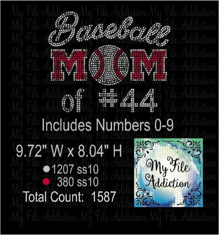 Baseball Mom with Numbers Rhinestone Digital Download File - My File Addiction