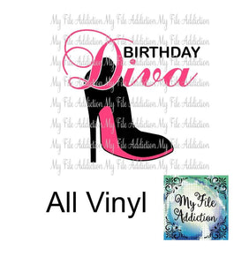 Birthday Diva High Heel Stiletto Shoe Vector Digital Download File - My File Addiction