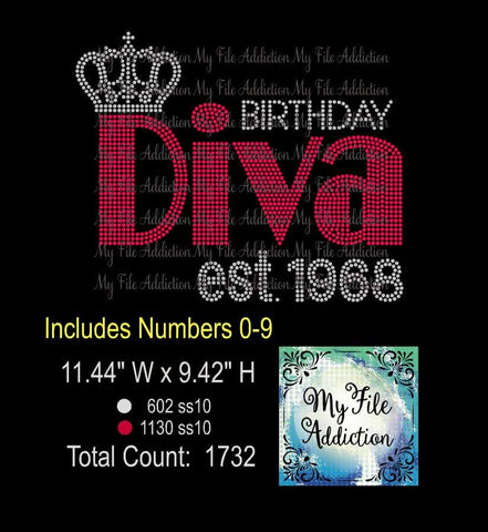 Birthday Diva Large with Crown & Est Numbers Rhinestone Digital Download File - My File Addiction
