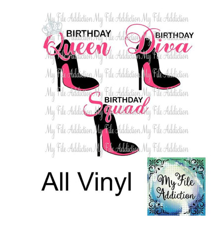 Birthday Diva Queen & Squad Stiletto Vector Digital Download File - My File Addiction